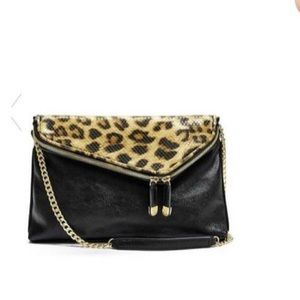 GUESS Purse Black and Cheetah with chain strap